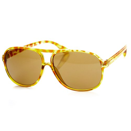 zeroUV - Casual Slim Plastic Square Double Bridge Frame Aviator Sunglasses (Yellow Tortoise) (Aviator Bridge)