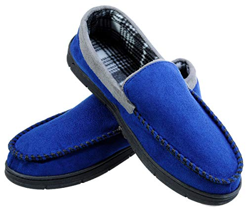 festooning Men's Anti-Slip Casual Pile Lined Blue Grey Rubber Moccasin Slippers 11-12 M