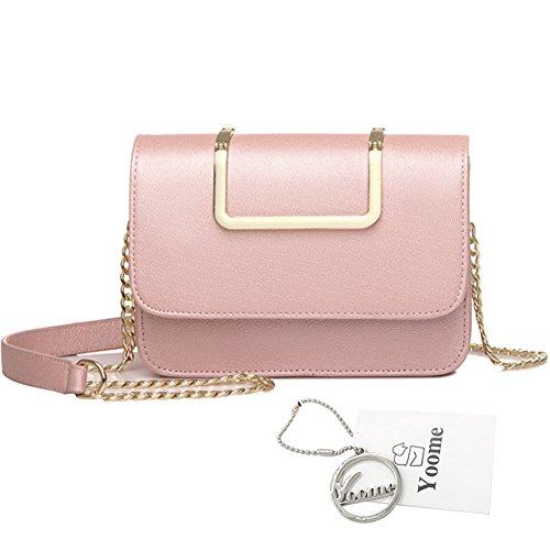 Yoome Upscale Pure Color Moda Flap Bolsa De La Cadena Bolsas Para Las Niñas Bolsas De Negocios Para Las Mujeres De Cuero - Negro Rosado