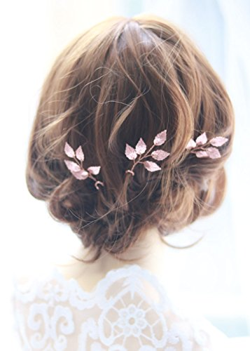 FXmimior Bride Hair Accessories Hair Pins Clip Bobby Pins Vintage Rose Gold Leaf Bridesmaid Headpiece Customised Wedding pack of 3