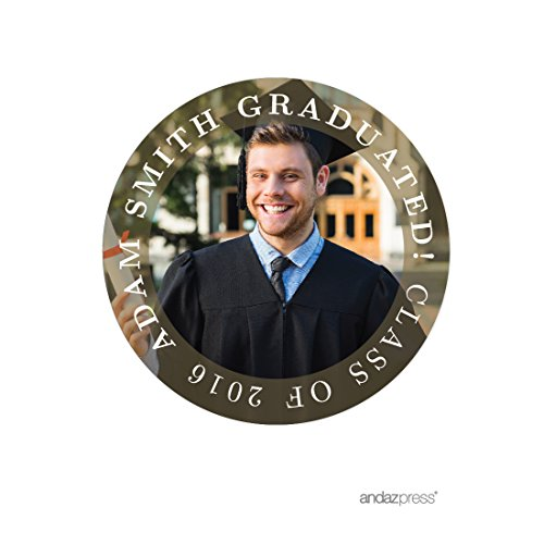 Andaz Press Photo Personalized Ivy League Graduation Collection, Round Circle Gift Class Of Label Stickers, 40-Pack, Custom Image