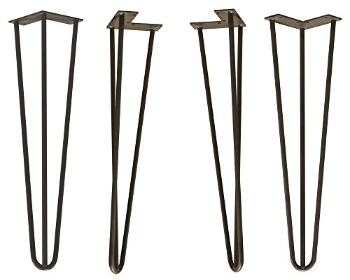 Hairpin Metal Coffee Table Legs (Set of 4) in Flat Black Finish - Dimensions: 18 x 4 inches by Osborne Wood Products