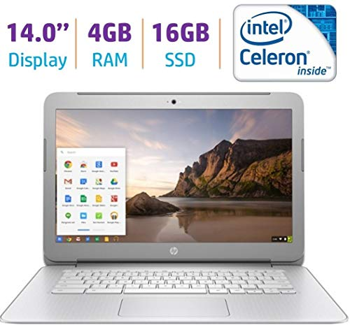 HP Premium High Performance 14 inch Chromebook Full HD 1080p IPS display, Intel Celeron Quad-Core Processor, 4GB RAM, 16GB eMMC, 802.11ac WiFi, HDMI, Webcam Bluetooth Chrome OS (Renewed)