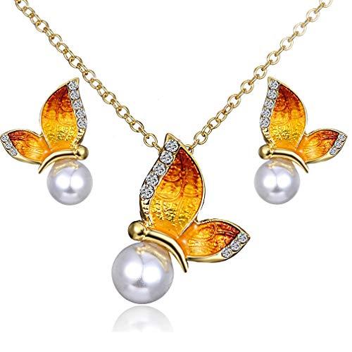 GUAngqi Charm Pendant Necklaces Studs Earring Jewellery Set Imitation Pearl Rhinestone Butterfly Jewelry Set for Women Girls,Orange