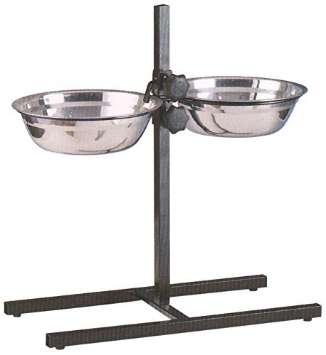 MCage Large Adjustable Wrought Iron Stainless Steel Double Diner Food Water Bowls, 5-Quart, Black