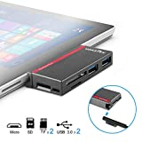 USB 3.0 HUB, VOASTEK 6 in 1 Surface Pro Hub Combo Adapter with 2 USB 3.0 (5Gbps), Micro USB, SD/TF/Micro SD Memory Card Reader Compatible Microsoft Surface 2017/Pro 4/3|Unique Design Surface Adapter