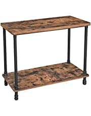 VASAGLE Industrial Console Table, Sofa Table with Iron Pipe Legs and Thick Top, Rustic Brown ULNT82X