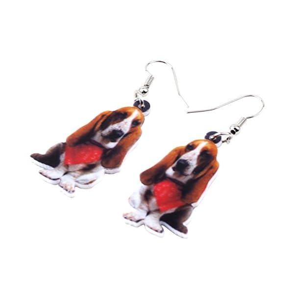 NEWEI Acrylic Sweet Basset Hound Dog Earrings Drop Dangle Fashion Jewelry For Girl Women Gift Charms 3