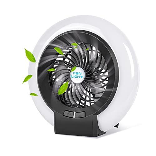 Lureshine Ventilateur Silencieux Mini Ventilateur de table USB Portable Avec Lumière LED, Rechargeable 2 vitesses avec Crochet Pour Yoga Bureau Salon Voyage