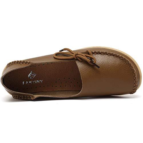 Chaussures On Conduite Mocassins Flats De Slip Décontractées Femmes Cuir Kaki En 4qYX6Z