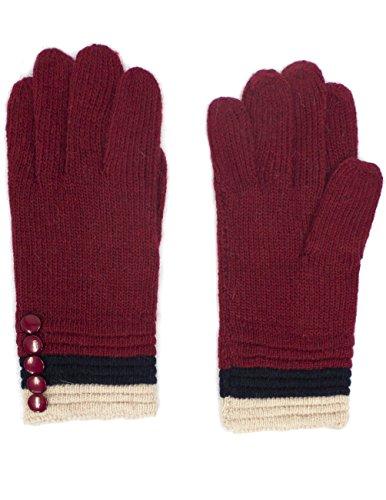 Dahlia Women's Five Buttons Wool Blend Cuff Knit Gloves - Burgundy