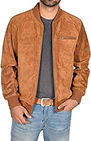 A1 FASHION GOODS Mens Real TAN Suede Bomber Jacket Leather Varsity Coat Roco