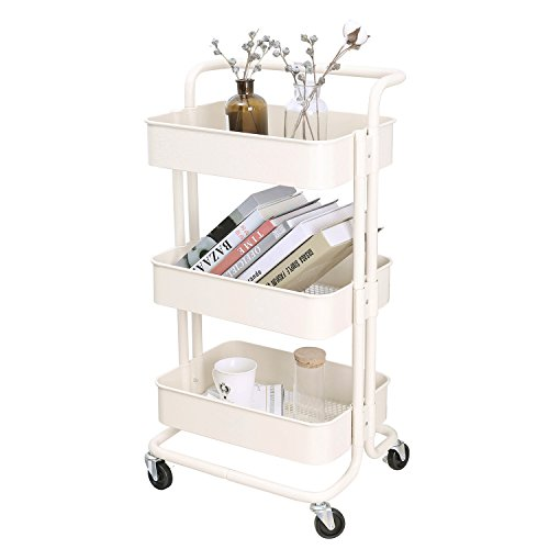 (3-Tier Metal Mesh Storage Utility Cart with Brake Caster Wheels, Rolling Cart with Removable Handle, Beige)
