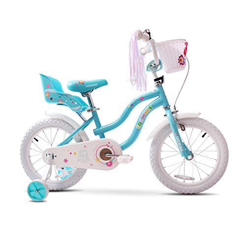 COEWSKE Kid's Bike Steel Frame Children Bicycle Little Princess Style 16 Inch with Training Wheel (16 Inch Princess Blue)