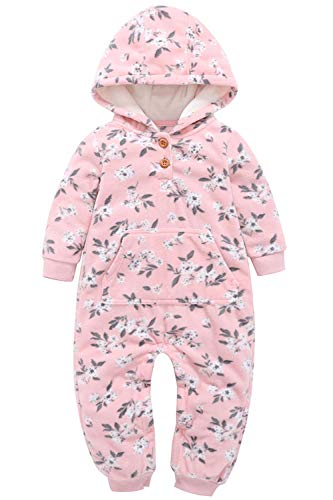 stmas Outfit Long Sleeved Zip-up Hooded Romper Playsuit Jumpsuit Winter Clothes Set for Infant (Pink Floral-Print Button-Down Romper, 9-12 Months) ()