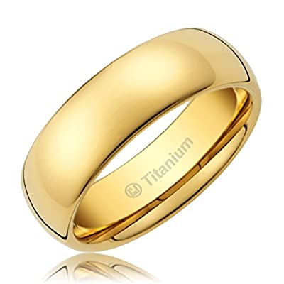 Cavalier Jewelers 8MM Men's Titanium Ring Classic Wedding Band 14K Gold-Plated with Polished Finish