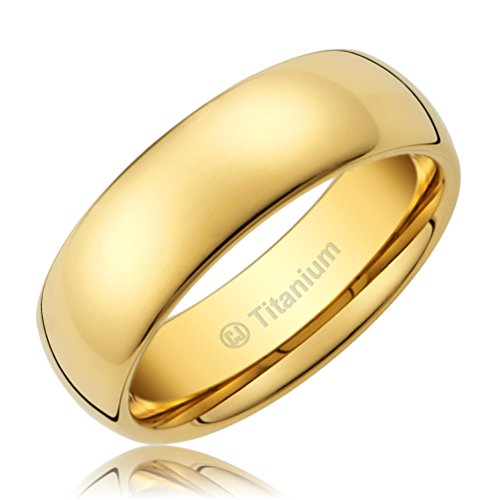 Cavalier Jewelers 8MM Men's Titanium Ring Classic Wedding Band 14K Gold-Plated with Polished Finish [Size - Finish Polished Titanium
