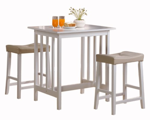 Homelegance 5310W-MTL 3-Piece Counter Table and Stools in White