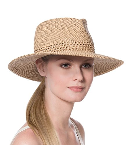 Eric Javits Fashion Designer Women's Headwear Hat - Squishee Bayou - Peanut - Eric Javits Straw Cap