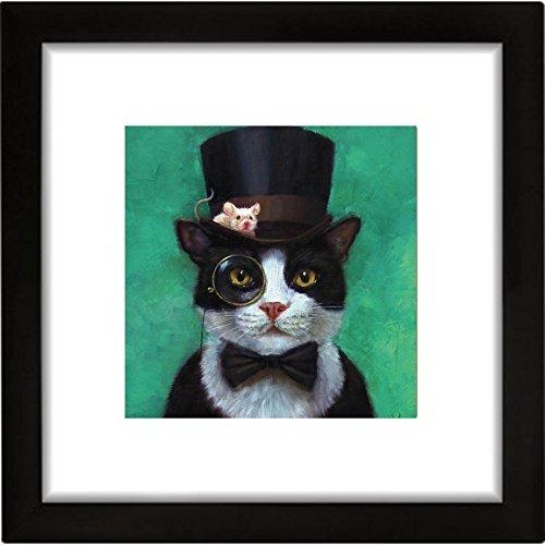 Buyartforless FRAMED Tuxedo Cat with Mouse in Hat by Lucia Heffernan 16x16 Steampunk Art Print Poster (Cat Hat Art)
