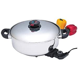 "Precise Heat 12"" T304 Stainless Steel Deep Electric Skillet/slow Cooker"