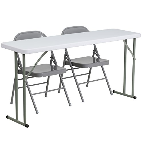 Flash Furniture 18'' x 60'' Plastic Folding Training Table Set with 2 Gray Metal Folding Chairs (Plastic Chairs And Tables For Sale)
