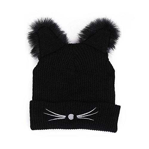 Cithy Women Winter Crochet Hat Cute Ear Wool Knit Beanie Warm Caps Knit Ski Beanie Skull Slouchy Caps Hat (Black)