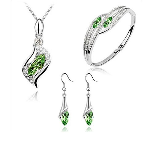 Gbell Clearance! Fashion Style Earrings Necklace Bracelet Jewelry Set Crystal Rhinestone Chic Eyes Drop DIY for Women Lady Girls,For Wedding,Bridal,Party,Anniversary,Engagement (Green) from Gbell