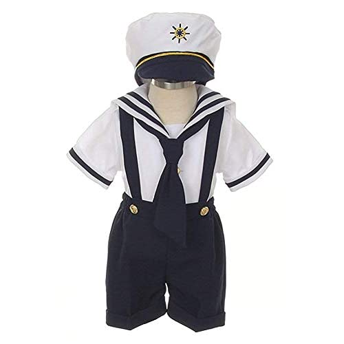 Baby Toddler Boys Nautical Sailor Short Suit Set with Hat