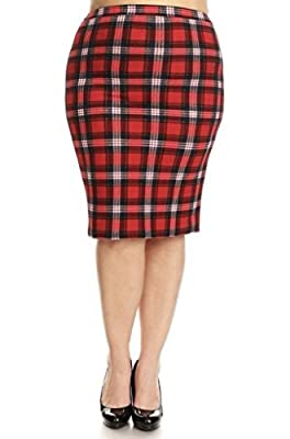 Jersey Glam Plus Red Navy Plaid Skirt High Waist Midi Stretch Pencil 1 X 2X 3X