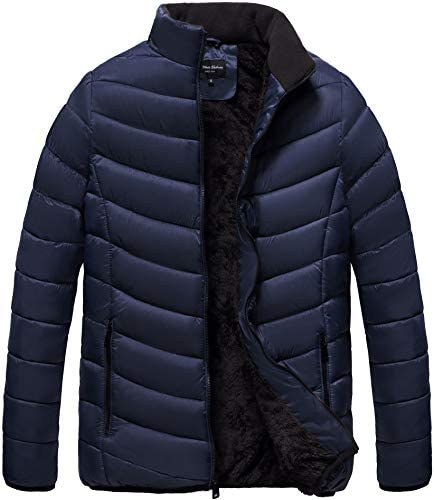 The Whole Shebang Men's Quilt Puffer Jacket with Faux Fur Lining