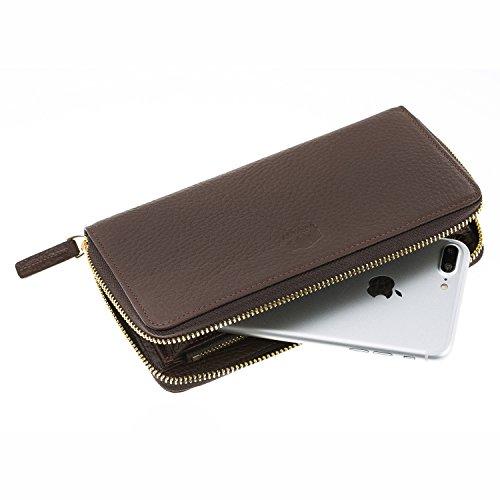 Burkley Venice; Full Grain Genuine Leather Zip Around Continental Wallet, Handcrafted Genuine Premium Leather, Classic Clutch Wallet Purse (Brown)
