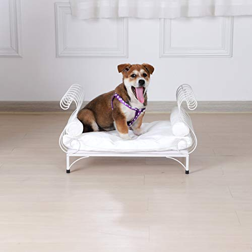 BabyLand Metal Pet Bed Dog Lounge Sofa with Thick Cushion White