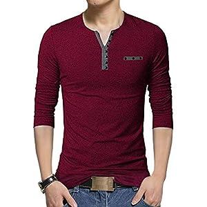 EYEBOGLER Henley Neck Polycotton T Shirt for Men
