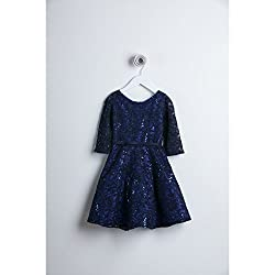 Sweet Kids Navy 3/4 Sleeve Sequin Lace Special Occasion Dress Girls 6