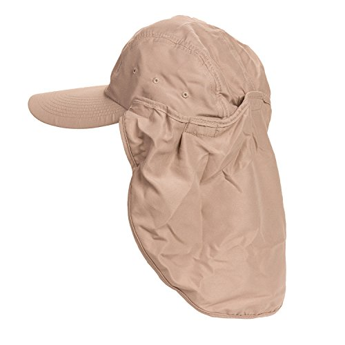 Fishing Hat with Removable Neck Flap by Dorfman Pacific (One Size , Cream)
