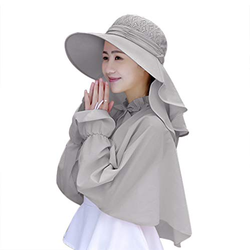(Womens Fishing Hat 360°UV Protection Sun Hat Large Brim Foldable UPF 50+ Summer Sun Visor Caps With Removable Sun Shield and Neck Cover for Outdoor Hiking Gardening Beach Camping Boating (gray.))