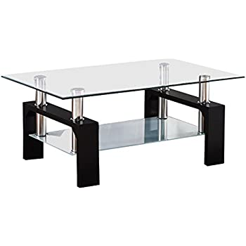 SUNCOO Rectangular Glass Coffee Table Shelf Wood Living Room Furniture  Chrome Base Black
