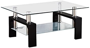SUNCOO Rectangular Glass Coffee Table Shelf Wood Living Room Furniture  Chrome Base Black