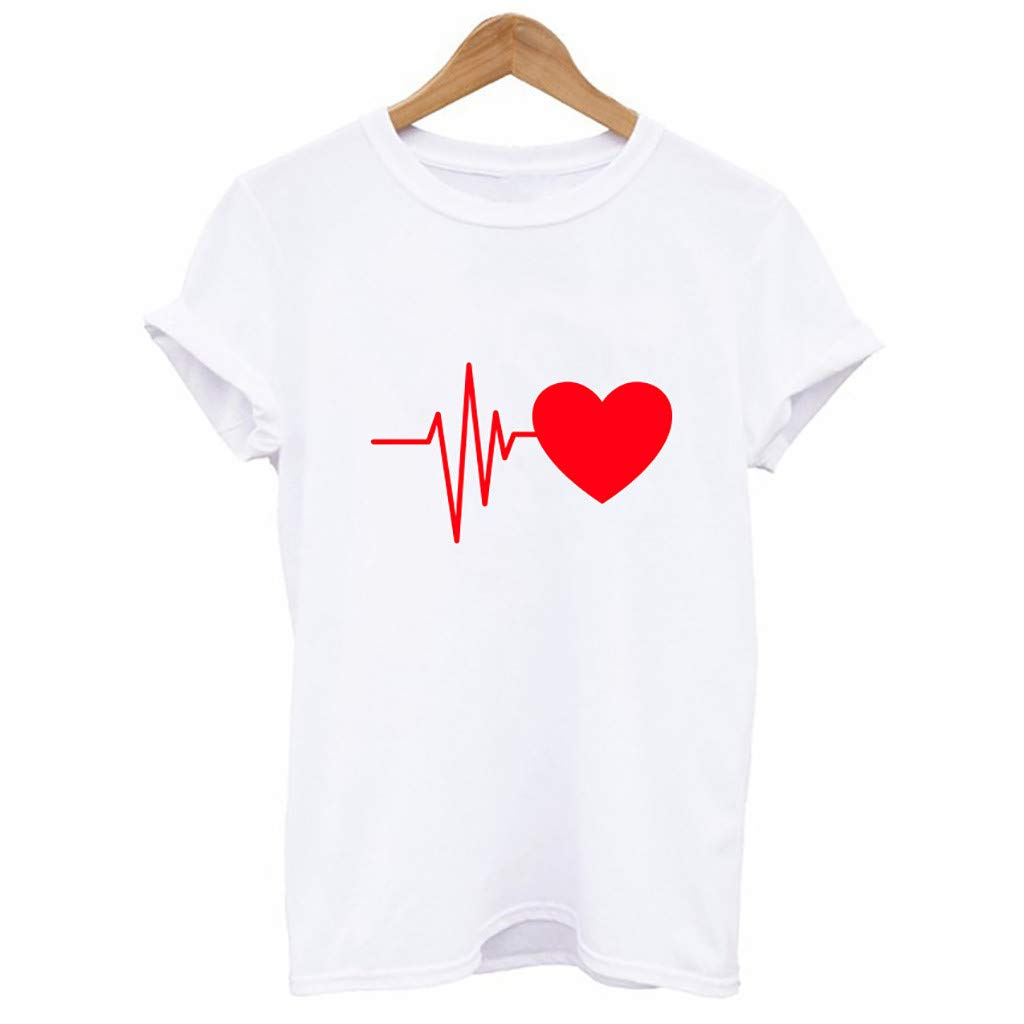 GIOKFENDFashion Women's Loose Short-Sleeved Heart Print T-Shirt Casual O-Neck Top (S, D)
