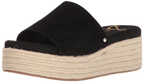 Leather Wedge Slide - Sam Edelman Women's Weslee Slide Sandal, Black Suede, 10 M US