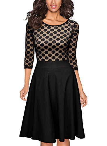 Miusol Women's Casual Polka Dot 2/3 1950'S Style Sleeve Party Swing (Polka Dot Cocktail Dresses)