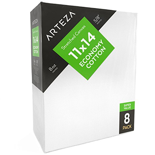 "Arteza 11x14"" Stretched White Blank Canvas, Bulk Pack of 8, Primed, 100% Cotton for Painting, Acrylic Pouring, Oil Paint & Wet Art Media, Canvases for Professional Artist, Hobby Painters & Beginner"