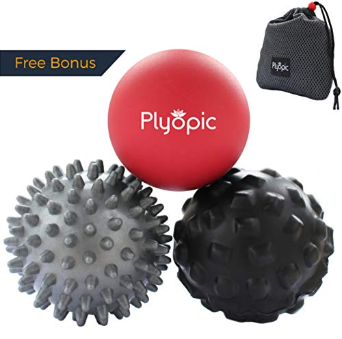 (Plyopic Massage Ball Set - for Deep Tissue Muscle Recovery, Myofascial Release, Trigger Point Therapy, Crossfit Mobility and Plantar Fasciitis Relief)