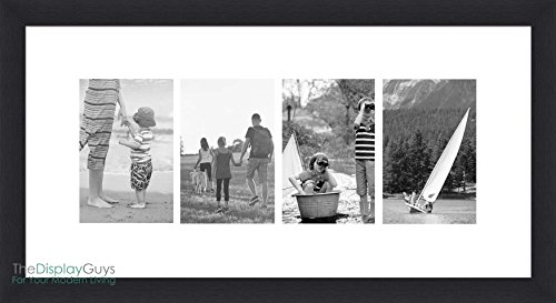 The Display Guys 10x20 Inches Tempered Glass Black Wooden Textured Frame with White Mat For 4-4