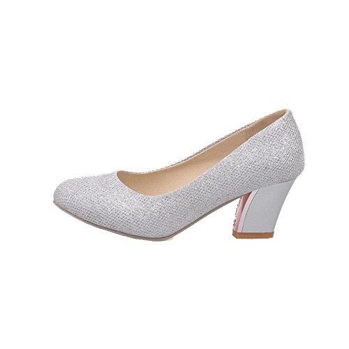 VogueZone009 Damen Rein Pailletten Mittler Rund Zehe Ziehen auf Pumps Schuhe Silber