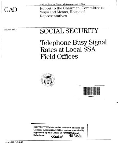 Social Security: Telephone Busy Signal Rates at Local SSA Field Offices