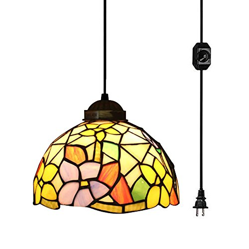- Tiffany Style Gardenias Ceiling Hanging Lamp, 8-Inch, Multicolor
