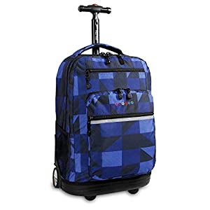 "J World SUNDANCE 19.5"" Rolling Backpack with Laptop Sleeve in Block Navy"