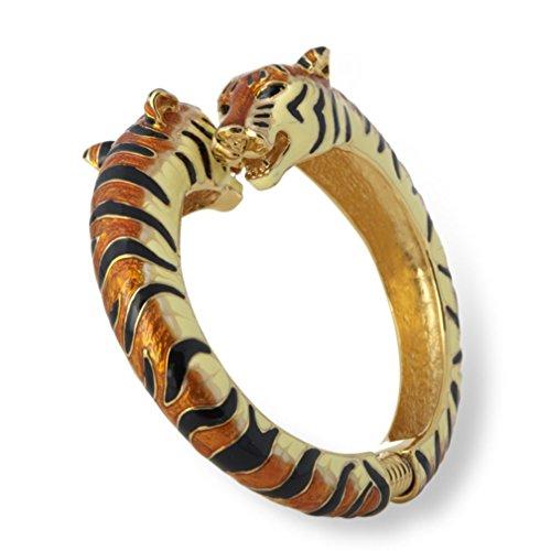 Kenneth Jay Lane Black/Tan Tiger Head Enamel Bypass Bangle Bracelet (Kenneth Jay Lane Gold Bangles)